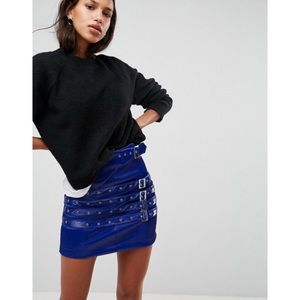 NWOT ASOS leather look mini skirt with buckles